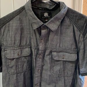 Rock & Republic Short Sleeve Button Down Gray XL